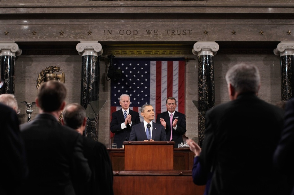 With Vice President Joe Biden and House Speaker John Boehner behind him, President Obama delivers his State of the Union speech Tuesday to a joint session of Congress on Capitol Hill.  (AP)