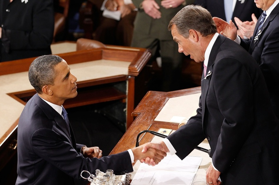 Obama shakes hands with Boehner (R-OH) after the speech.  (Getty Images)