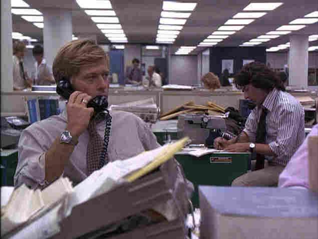 Washington Post newsroom in a scene from 'All the President's Men'