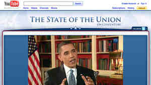 In this screen capture, President Obama is seen live on the White House YouTube channel answering video and text questions on Feb. 1, 2010, after last year's State