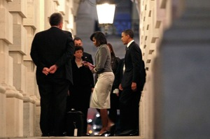 President Obama and first lady Michelle Obama enter the Capitol for the State of the Union address.