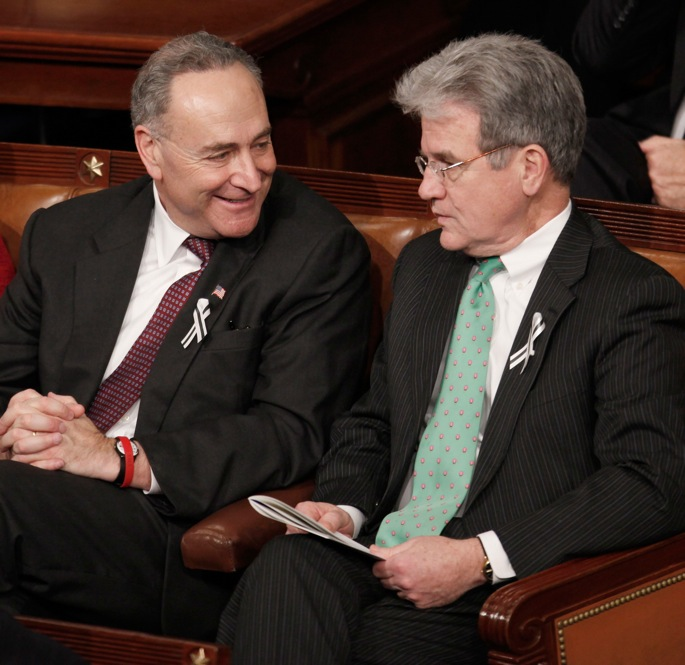 "Sen. Charles Schumer (D-NY), left, speaks with Sen. Tom Coburn (R-OK). ""We believe in strenuous discourse,"" Schumer told NBC News."