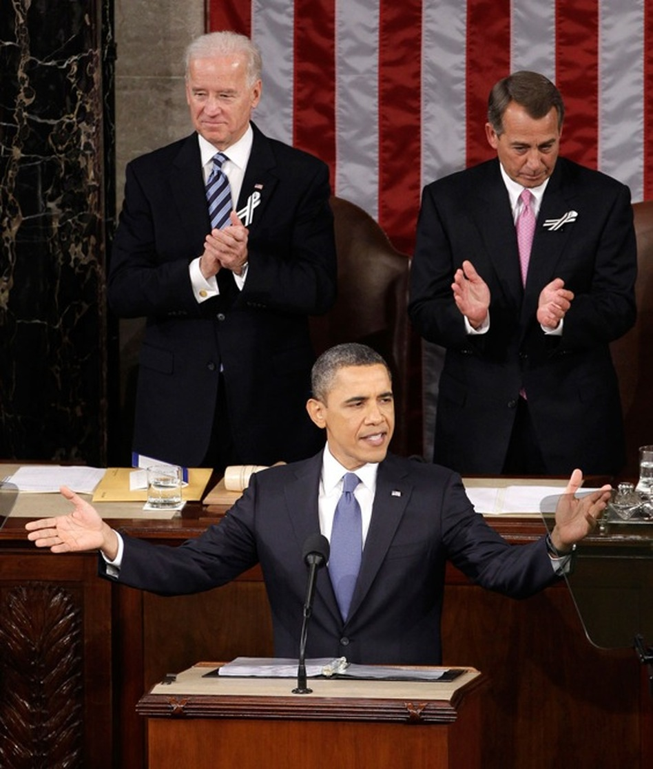 Vice President Biden and Speaker Boehner applaud as President Obama gestures before speaking.  (AP)
