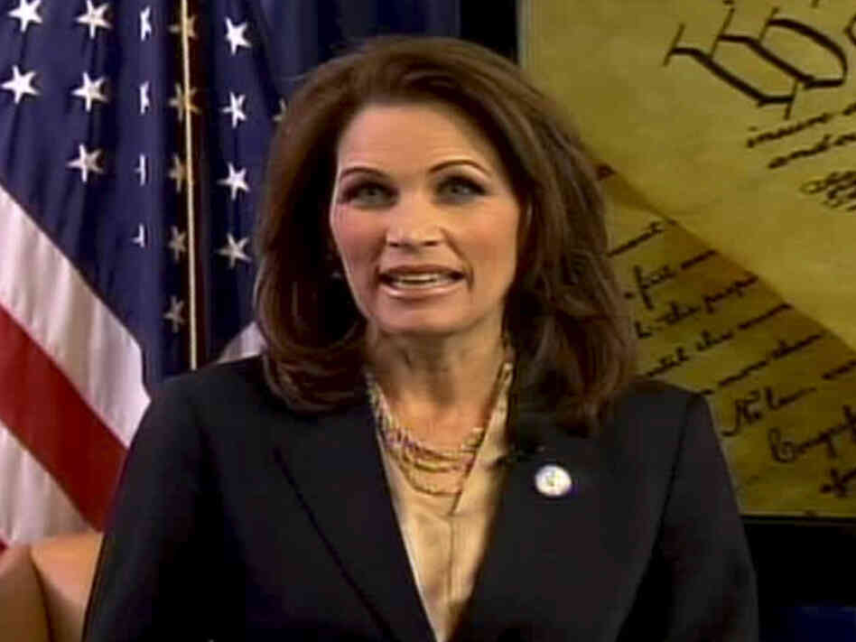 Michele Bachmann, R-Minn., delivers her Tea Party Express-hosted response to President Obama's State of the Union address on Tuesday, Jan. 25, 2011.