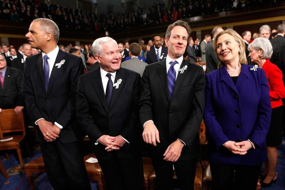 Attorney General Eric Holder (from left), Defense Secretary Robert Gates, Treasury Secretary Tim Geithner and Secretary of State Hillary Clinton await Obama's address.  (AP)