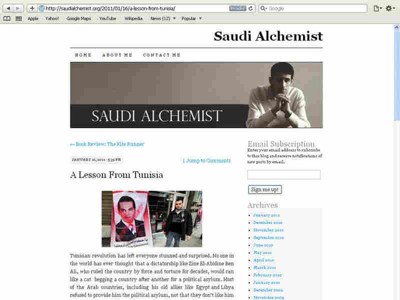 A screenshot of  saudialchemist.org, taken on Jan. 26, 2011.