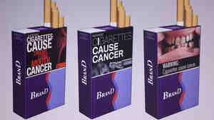 Three examples of proposed warning graphics that will appear on cigarette packaging as part of the government's new tobacco prevention efforts.