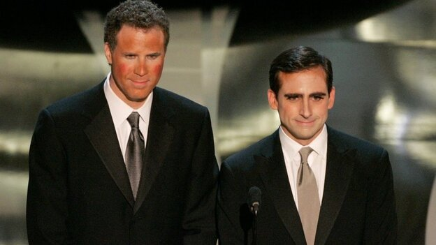 Will Ferrell and Steve Carell present the Achievement in Make-up award on stage during the Academy Awards in 2006. This spring, Ferrell will visit Carell's show, The Office.