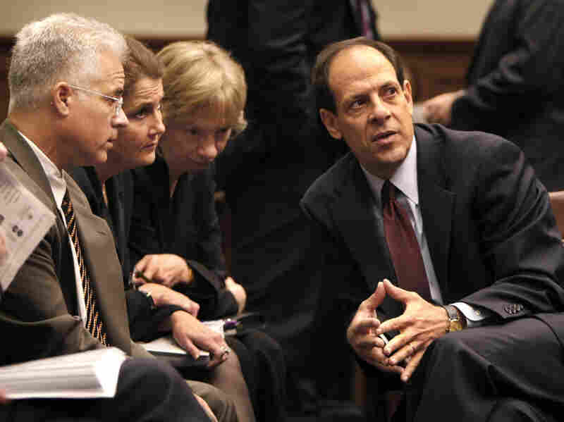 Inspector General Glenn Fine (right) consults with staff before testifying on the firing of nine U.S. attorneys during a House Judiciary panel hearing in 2008.