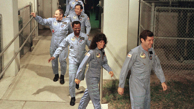 Ronald McNair (third in line) and his fellow Challenger astronauts head to the launch pad at Kennedy Space Center to board the space shuttle on Jan. 27, 1986. (AP)