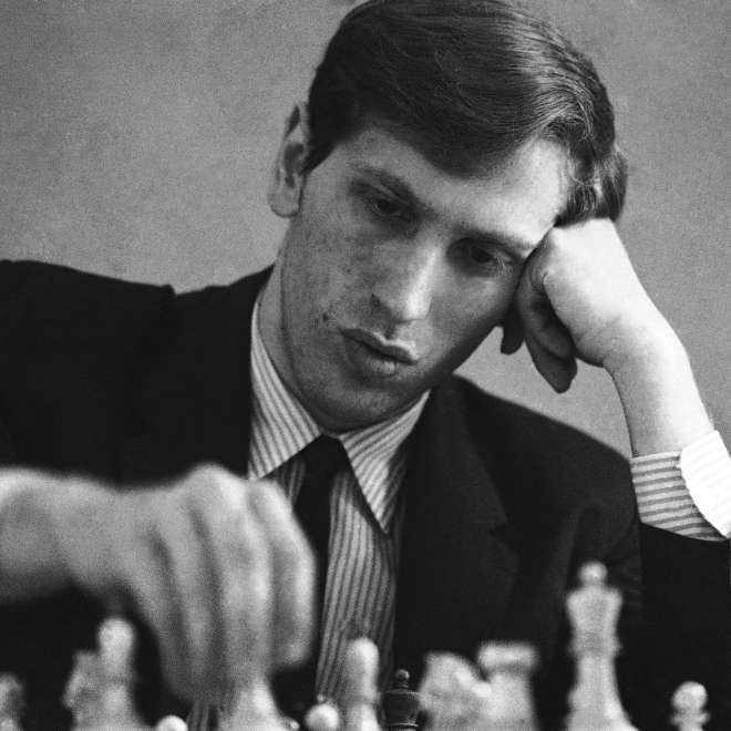 Chess grandmaster Bobby Fischer pictured in 1971, at age 28.