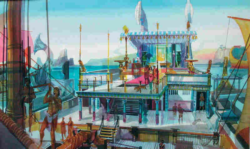 This sketch illustrates how production designer John DeCuir imagined Cleopatra's barge for the 1963 epic.