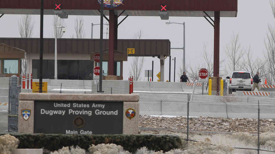 The main gate at Dugway Proving Ground in Utah.