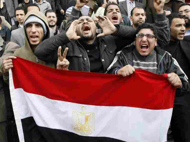 Egyptian demonstrators hold their national flag during demonstration in Cairo, demanding the ouster of President Hosni Mubarak. Many say that the protests in Tunisia sparked the uprisings in other Muslim countries such as Egypt.