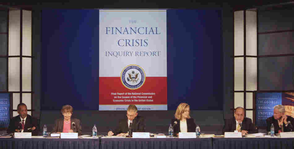 Members of the Financial Crisis Inquiry Commission speak in Washington, D.C., Thursday about the panel's report on the causes of the financial and economic crisis.