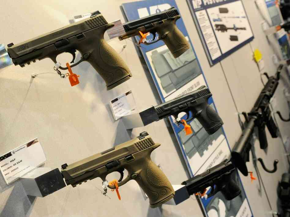 Handguns on display at a gun show in Las Vegas this month.