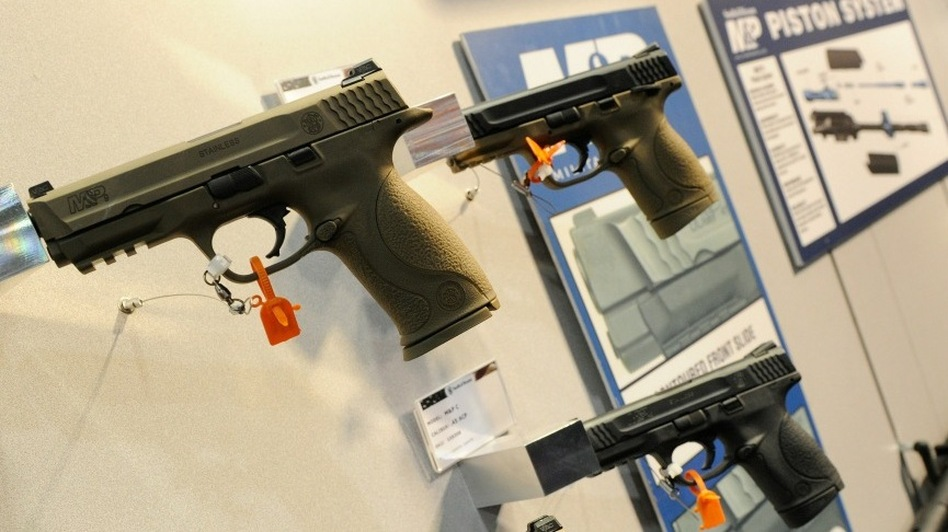 Handguns on display at a gun show in Las Vegas this month. (Getty Images)