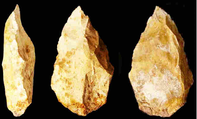 These primitive tools were found on the eastern edge of the Arabian Peninsula, outside the range of Neanderthals. Researchers say humans may have left Africa earlier than previously thought, crossing what is now the bottom of the Red Sea.