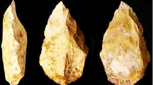 These primitive tools were found on the eastern edge of the Arabian Peninsula, outside the range of Neanderthals. Researchers say humans may have left Africa earlier than previously thought, crossing what is now the bottom of th