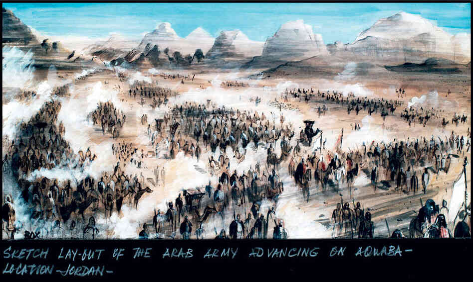 This sketch by production designer and illustrator John Box depicts the Arab army's advance on Aqaba in the 1962 film Lawrence of Arabia. With a budget of $12 million, all sets were built on location, not on studio lots.