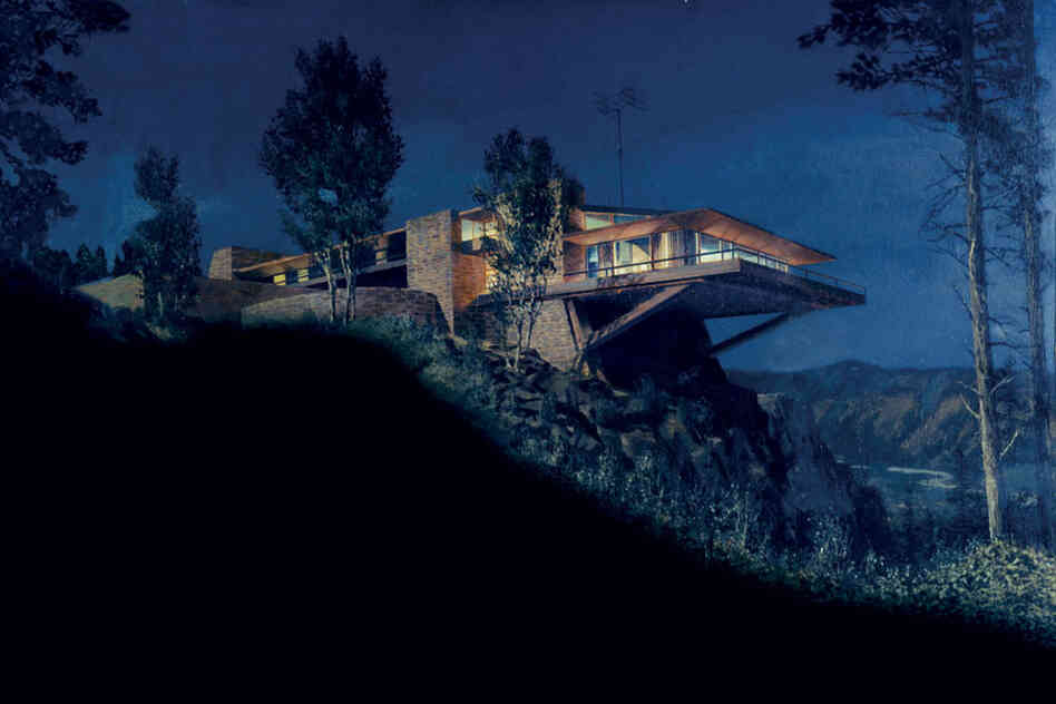 A matte painting by artist Matthew Yuricich depicts the Vandamm house in the 1959 suspense film North by Northwest. Production designer Robert F. Boyle took inspiration from Fallingwater, the residence designed by Frank Lloyd Wright.