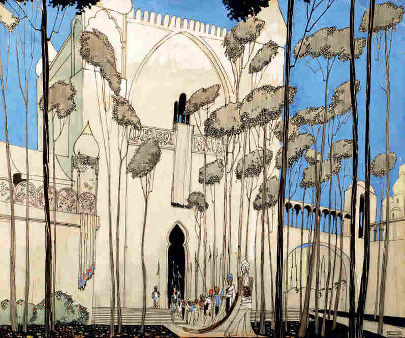 """William Cameron Menzies, art director and illustrator for the 1924 film The Thief of Bagdad, began his career as an illustrator of children's books. He would go on to become the first credited """"production designer"""" for his work on Gone with the Wind. Sketch by Pamela Lausen."""