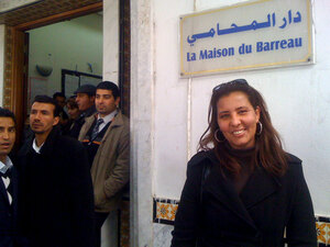 Irgui Najet stands in front of the Bar Association. Women in Tunisia are unique in the Arab world for enjoying near equality  with men. And they are anxious to maintain their status.