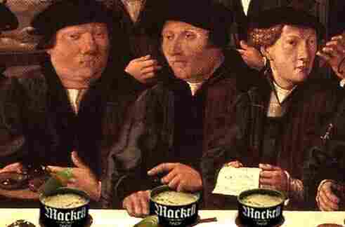 Burghers eating mackrill.