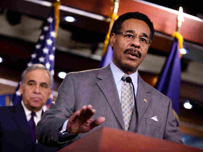 Rep. Emanuel Cleaver (D-MO) speaks at a news conference on the impact of a health care repeal on minority communities in Washington, D.C. Cleaver says that the national deficit is taking money away from crucial programs that minorities and African Americans need.