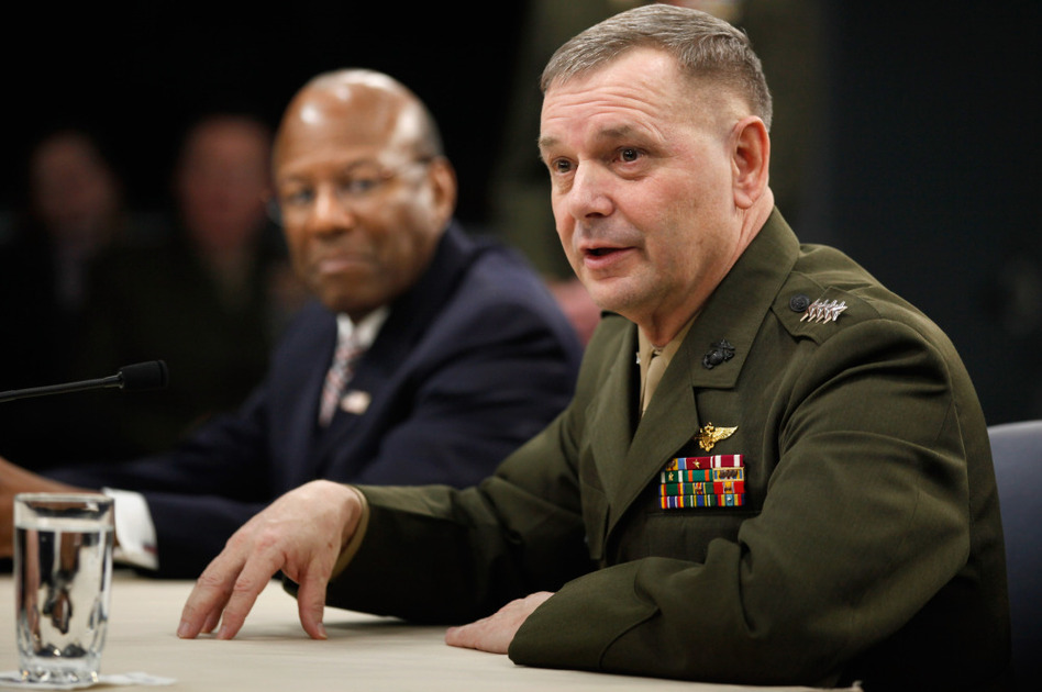 "Vice chairman of the Joint Chiefs of Staff Gen. James Cartwright (R) and Defense Department Under Secretary of Defense for Personnel and Readiness Dr. Clifford Stanley at the Pentagon today, talking about plans for the repeal of ""Don't Ask, Don't Tell."""