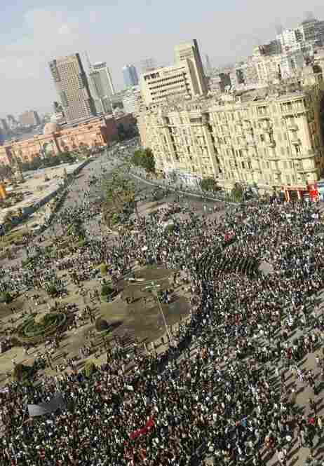 Egyptians gather in Tahrir Square in Cairo on Sunday.