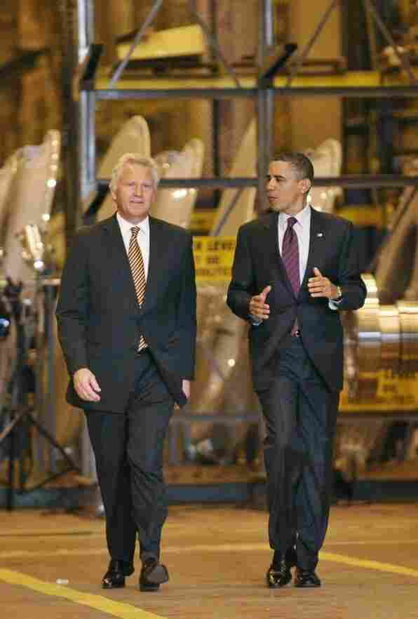 President Obama tours a General Electric plant in in Schenectady, N.Y., with GE Chairman and