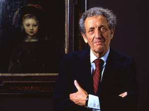 Simon, pictured above in the early 1980s, stands in front of one of the paintings in his collection, Rembrandt's Portrait of a Boy. Simon died in 1993.