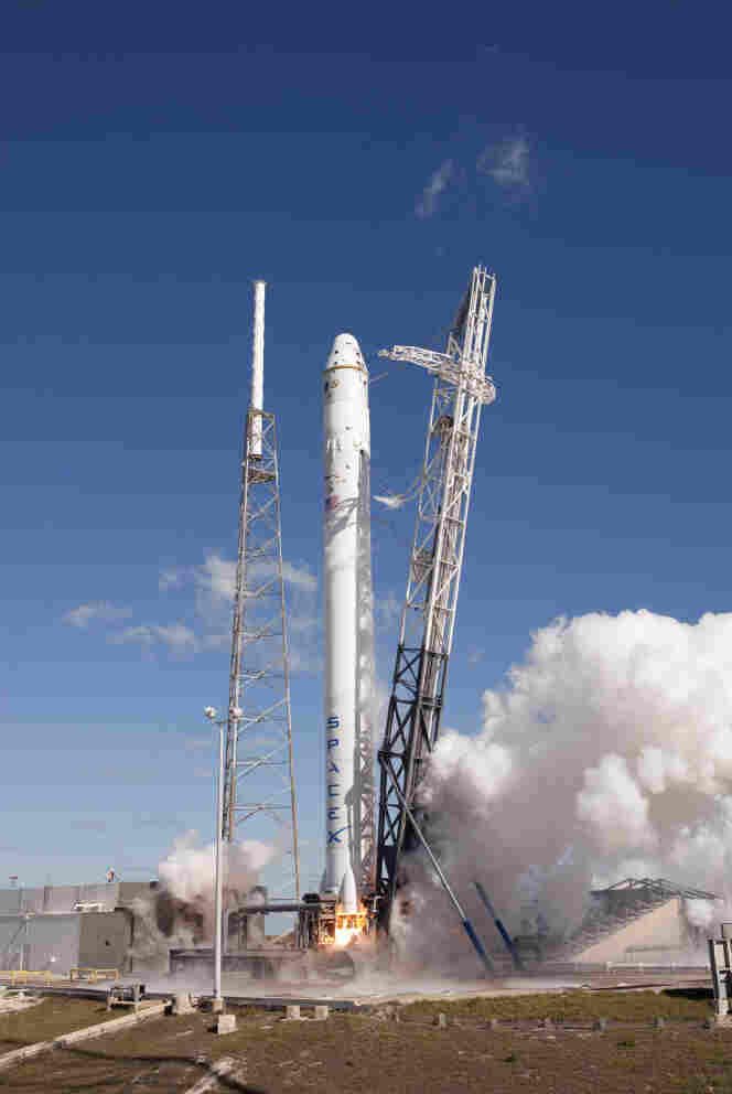 The SpaceX Falcon 9, carrying a Dragon capsule, lifts off the launch pad at Launch Complex 40 at Cape Canaveral on Dec. 8, 2010.