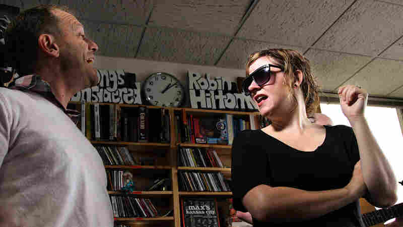 Torquil Campbell and Amy Milan of Stars performing at the Tiny Desk on Sept. 29, 2010.