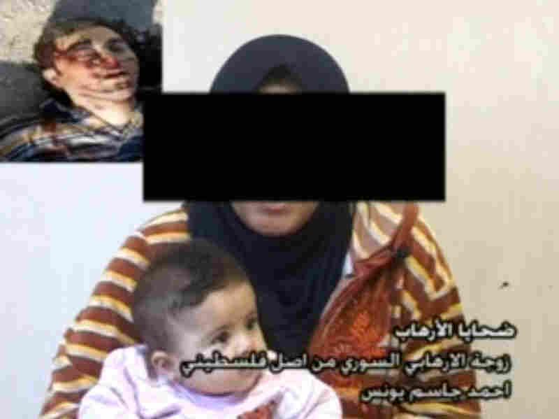 The Iraqi government recently launched an anti-al-Qaida media campaign that urges women not to marry insurgents. Seen here is a screen grab from a government video of one woman who married an insurgent. Her daughter, also pictured, is the child of a Palestinian-Syrian al-Qaida fighter who was killed by Iraqi forces. He is seen, dead, in the upper left of the screen.
