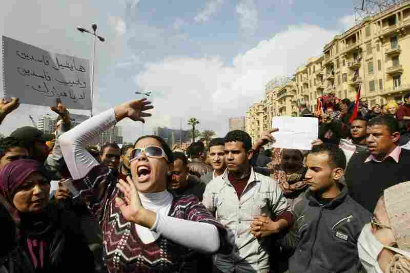 Demonstrators protest against President Hosni Mubarak's regime in Cairo on Sunday.