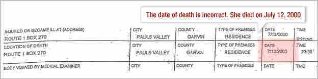 Death Certificate: Date of death incorrect.