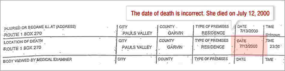 Death Certificate: Date of death incorrect.