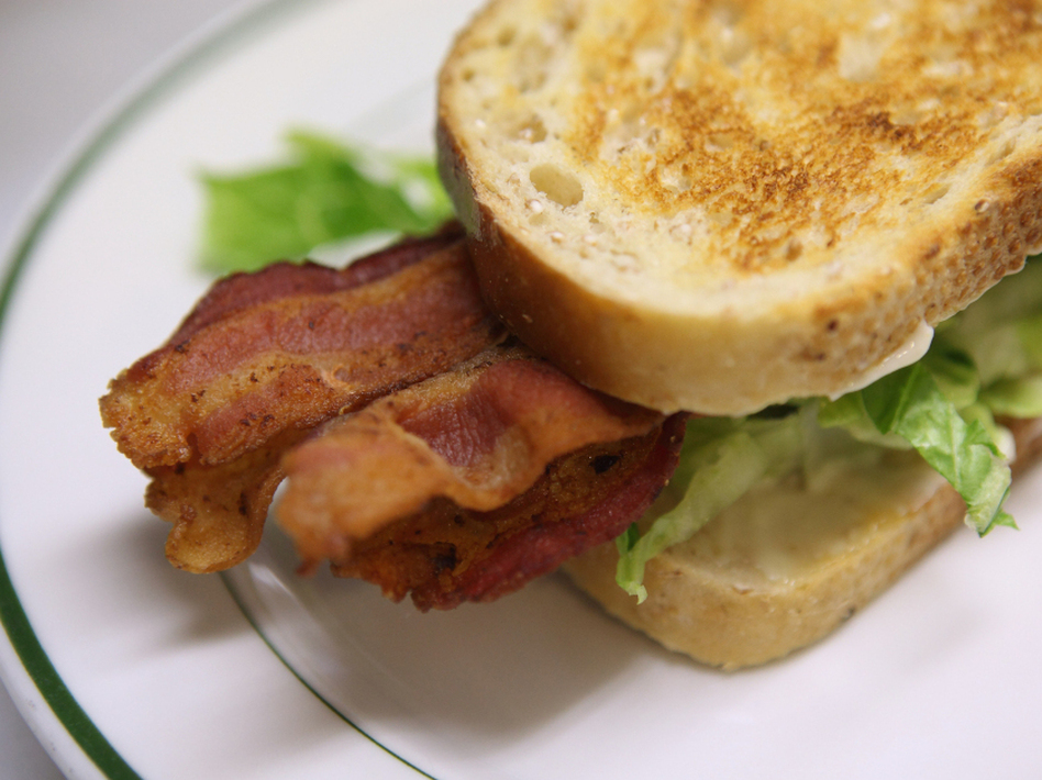 Bacon is cut from the pig's belly, and is one- to two-thirds fat. (Justin Sullivan/Getty Images)