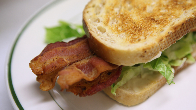 Bacon is cut from the pig's belly, and is one- to two-thirds fat. (Getty Images)
