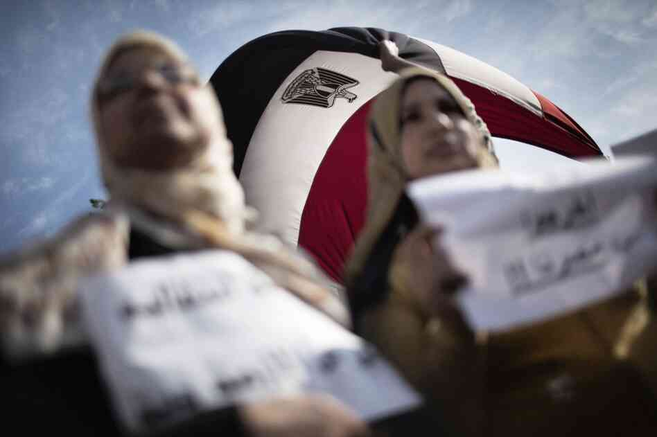 Egyptian women demonstrate in Tahrir Square on Sunday.