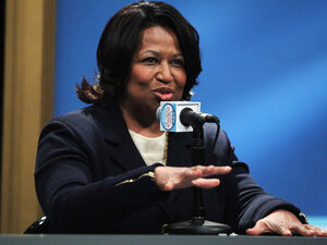 Chicago mayoral candidate Carol Moseley Braun at a TV debate, Thursday, Jan. 27, 2011.