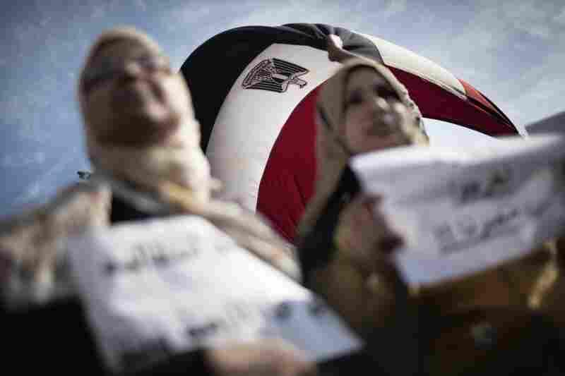 Egyptian women demonstrate in Tahrir Square on Sunday.