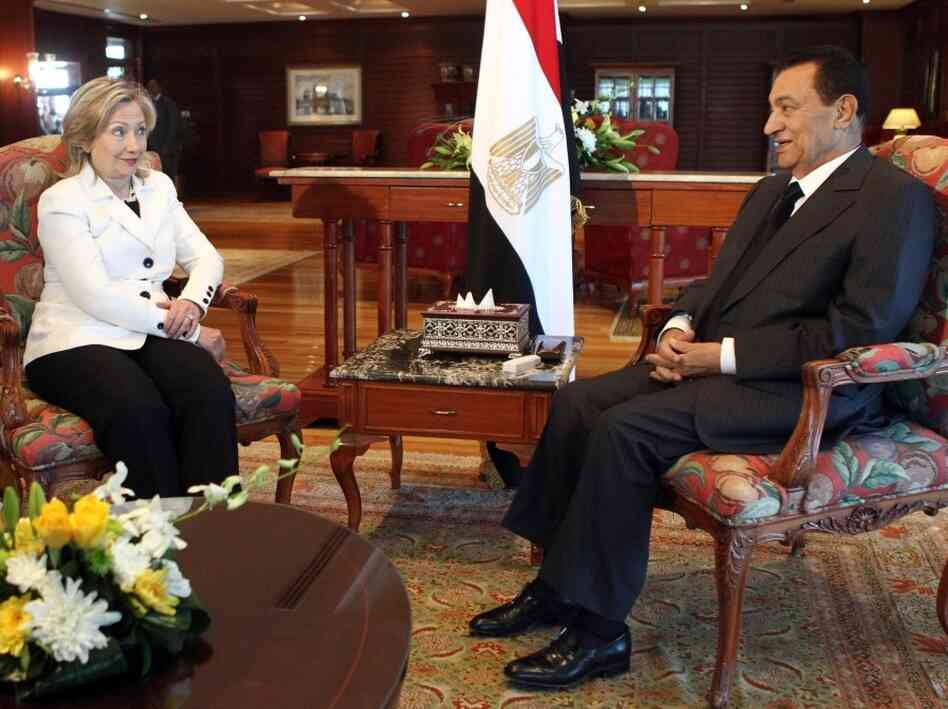 Egyptian President Hosni Mubarak meets  with Secretary of State Hillary Rodham Clinton in the Red Sea resort town of  Sharm El-Sheikh on Sept. 14, 2010, during the second round of  Palestinian-Israeli peace talks which resumed in Egypt.
