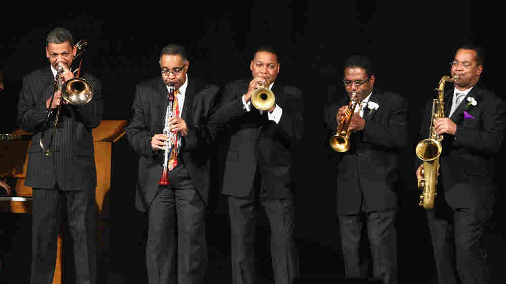 Wynton Marsalis (center) and members of the Jazz at Lincoln Center Orchestra perform in Washington, D.C. in 2009.