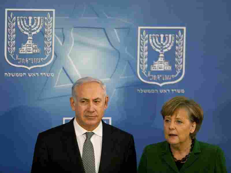 Israeli Prime Minister Benjamin Netanyahu and German Chancellor Angela Merkel  held a joint press  conference in Netanyahu's  office on Jan. 31 in  Jerusalem,  Israel. Merkel  called for a stop to the settlement building, sighting the events in Egypt as a  highlight for the importance of furthering the diplomatic process.