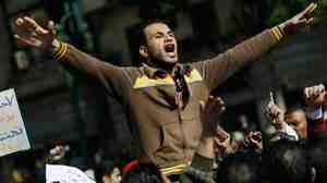 A protester in Cairo's Tahrir Square earlier today (Jan. 31, 2011).
