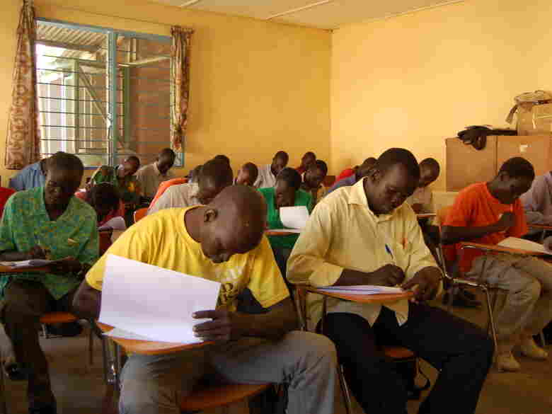 Students at Catholic University of Sudan take a marketing exam. Many students  there say they want to help Southern Sudan build a sustainable economy.