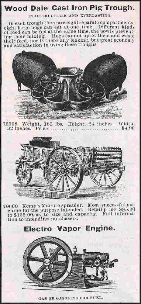 Agriculture tools from the 1895 Montgomery Ward & Co. catalog.